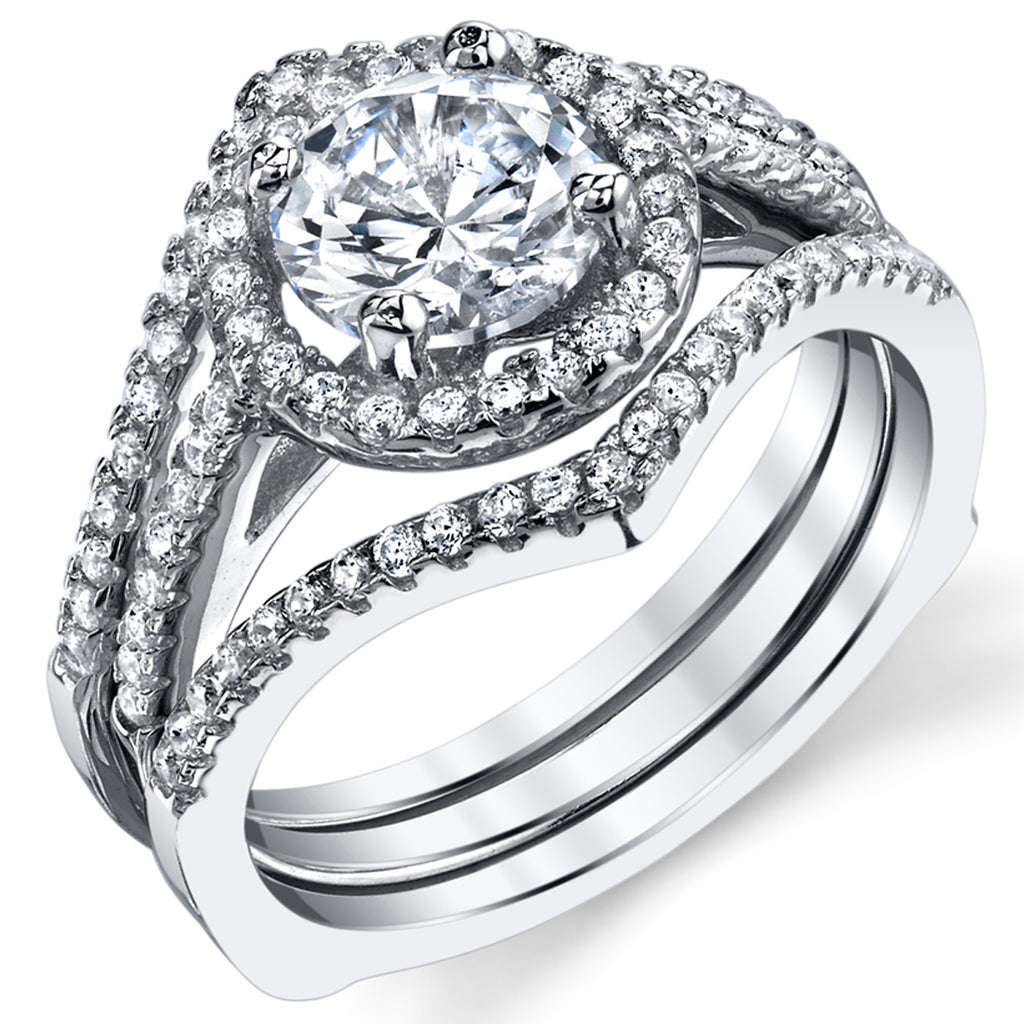 Women's 2Pc Sterling Silver Engagement Ring Bridal Set 1Ct Round Cubic Zirconia