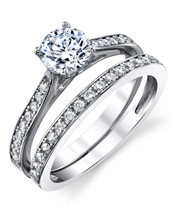 Women's Cubic Zirconia Wedding Engagement Anniversary Solitaire Ring Bridal Sets 925 Sterling Silver