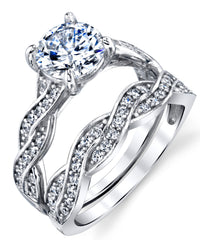 FB Jewels 925 Stering Silver Cubic Zirconia CZ Infinity Anniversary Promise Wedding Band Engagement Ring 4mm