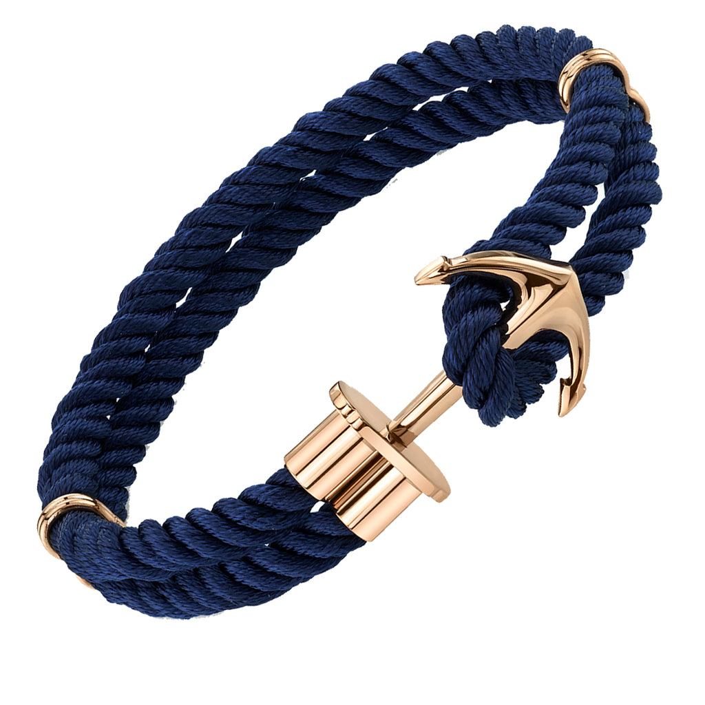 Men's Rose Gold Tone Stainless Steel Anchor Bracelet Navy Blue Silk Cord 8.5""