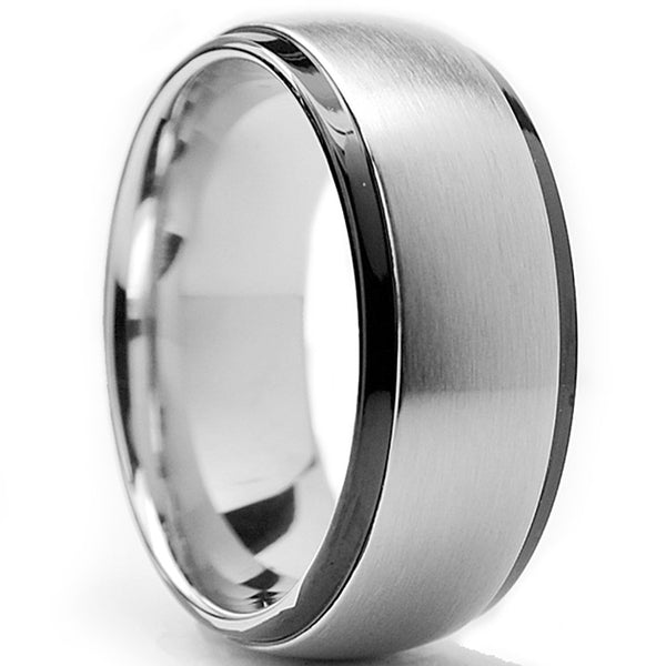 Men's 8MM Dome Two Tone Stainless Steel Ring Sizes 8 to 14