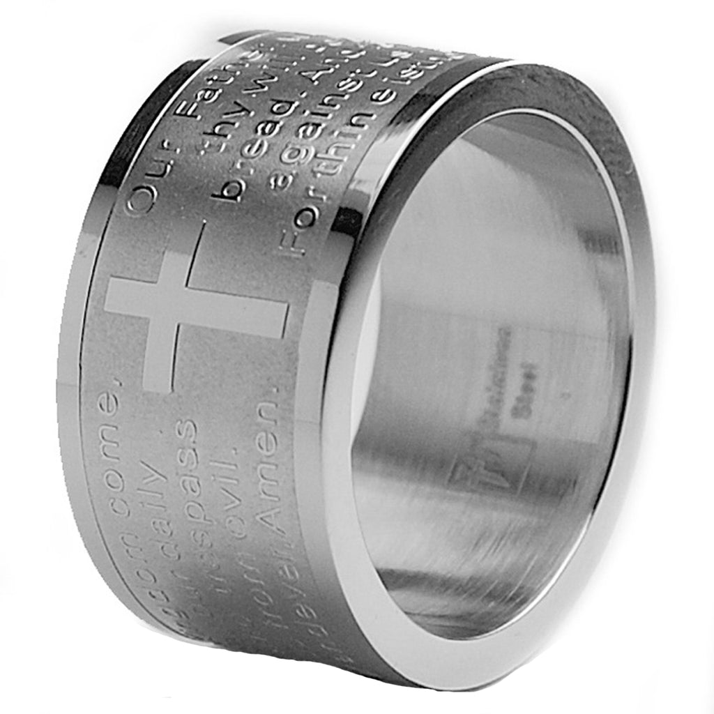 Men's 12MM Lord's Prayer Stainless Steel Ring Sizes 6 to 12