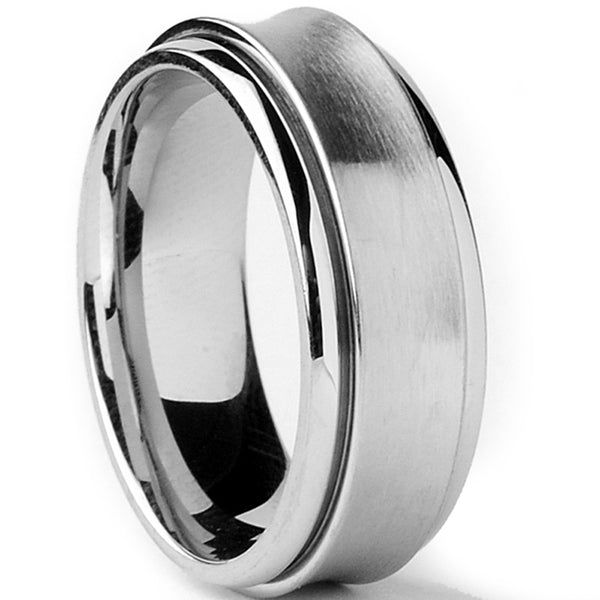 Stainless Steel Black 2 Color Tribal Wing Comfort Fit Flat Band Ring