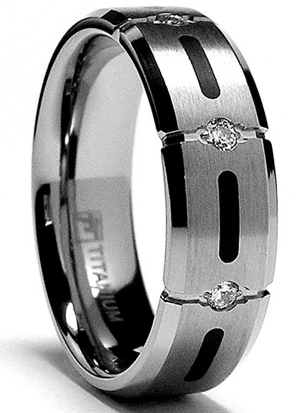 Men's 7MM Titanium Ring Wedding Band with Resin Inlay and 3 Cubic Zirconia CZ