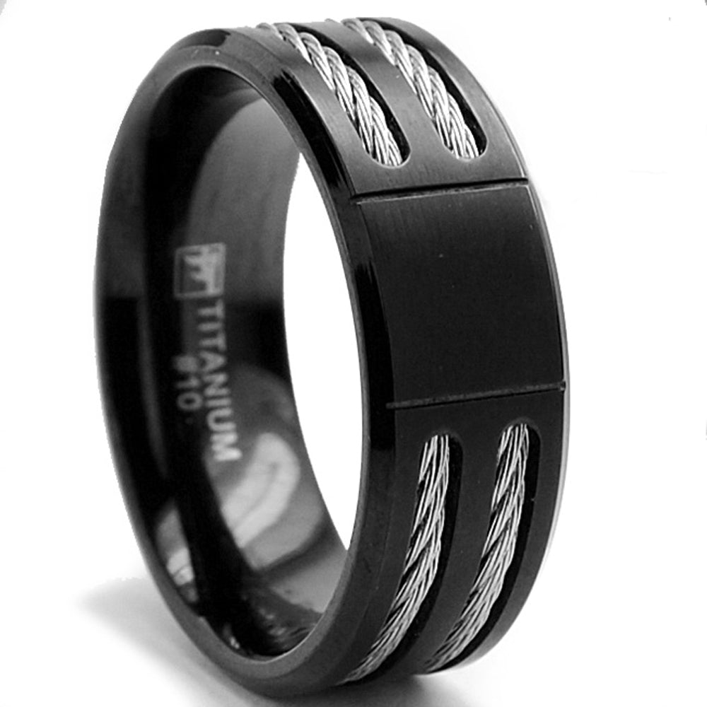 Men's 8MM Black Titanium ring Wedding band with Stainless Steel Cables sizes 7 to 12
