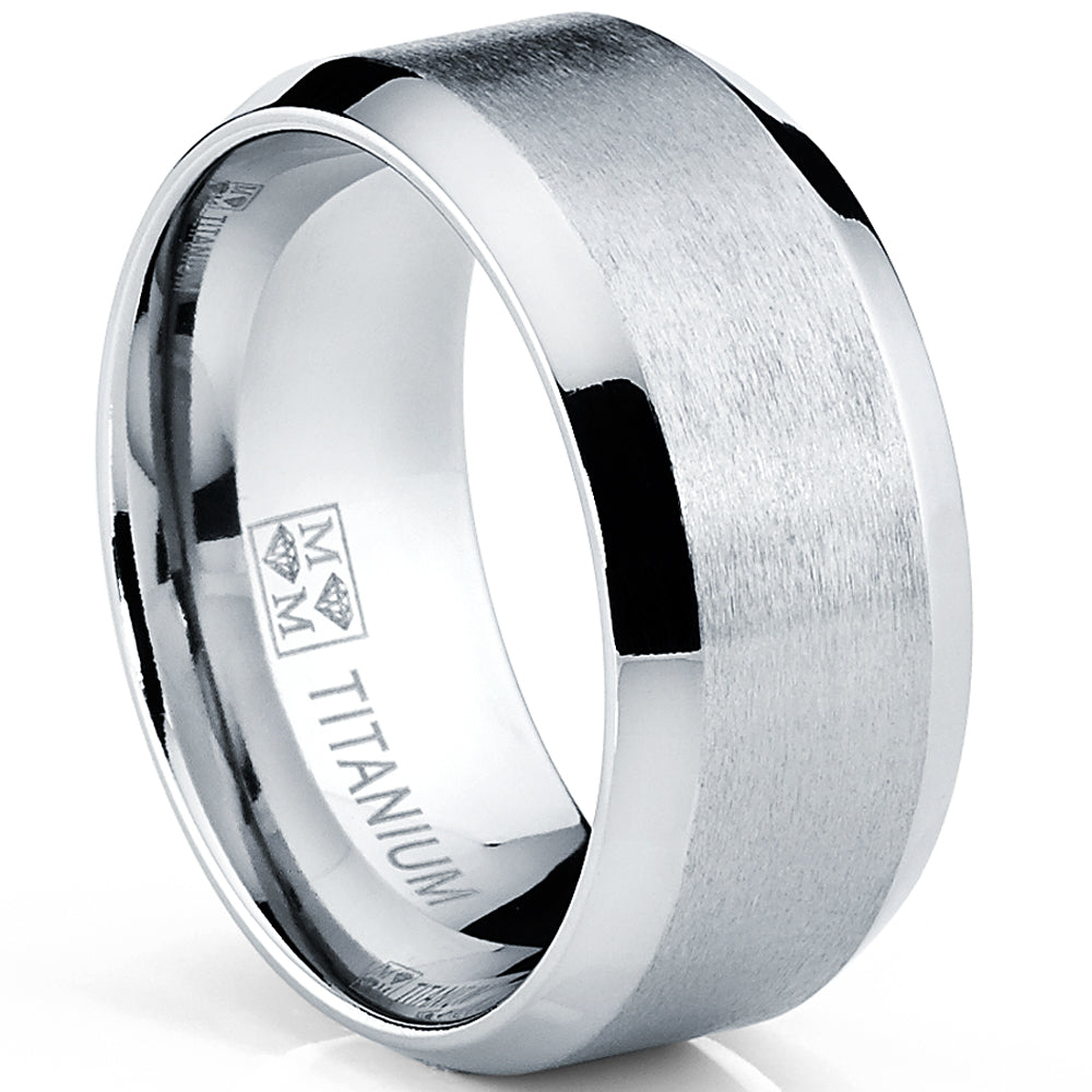 10MM Wide Men's Brushed Titanium Ring Wedding Band, Comfort Fit Sizes 7 to 13