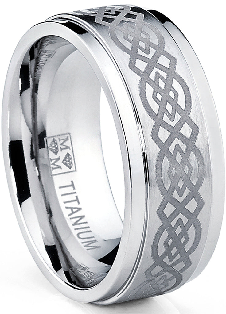 Men's Titanium Wedding Band Ring with Laser Etched Celtic Design, 9mm Comfort Fit, Sizes 7 to 13
