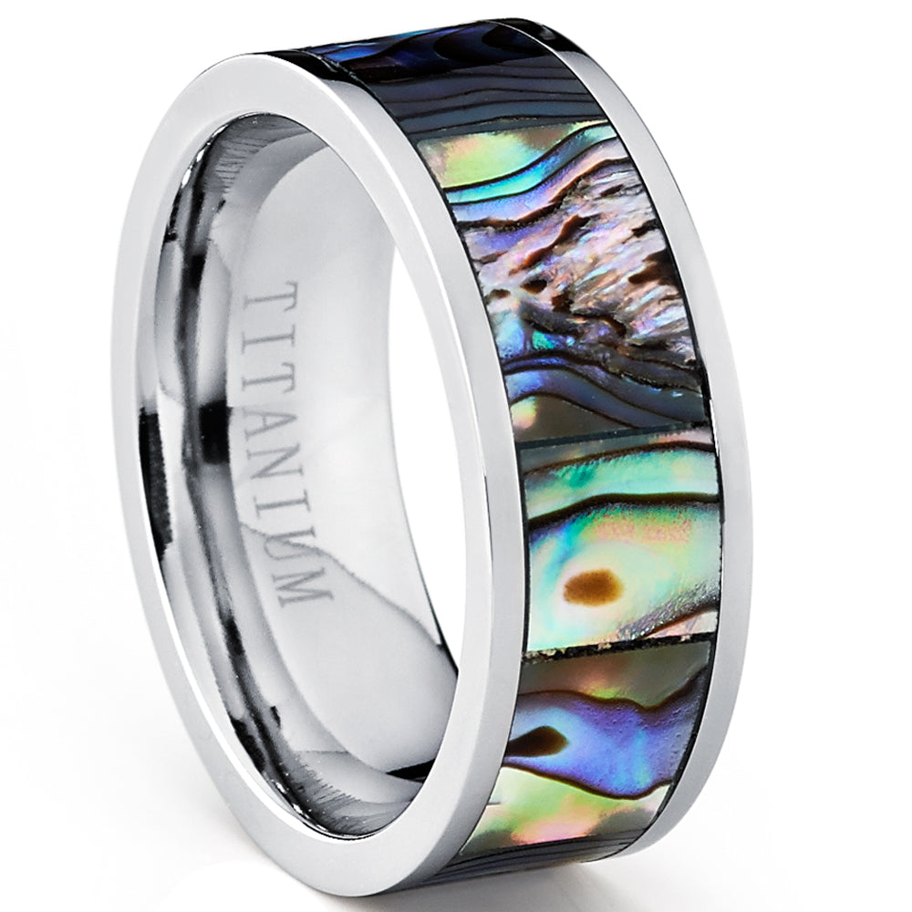 Men's Pipe Cut Titanium Ring Band With Rainbow Rippled Abalone Inlay, Comfort Fit 8mm Sizes 7 to 12