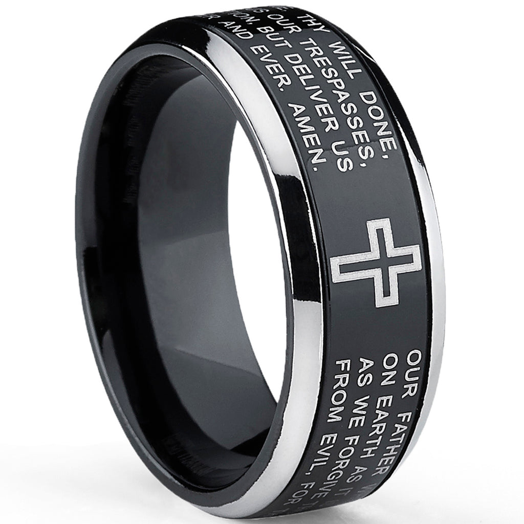 Men's Two Tone Black Titanium Lords Prayer Ring Band Sizes 7 to 13