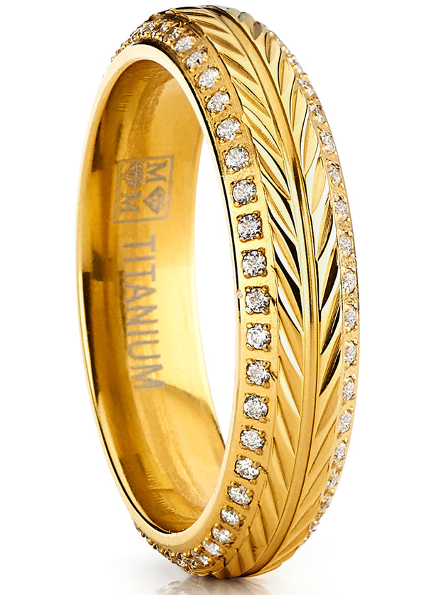 Women's Goldtone Titanium Ring Crested Wheat Stem Engraving Double Row Eternity Cubic Zirconia