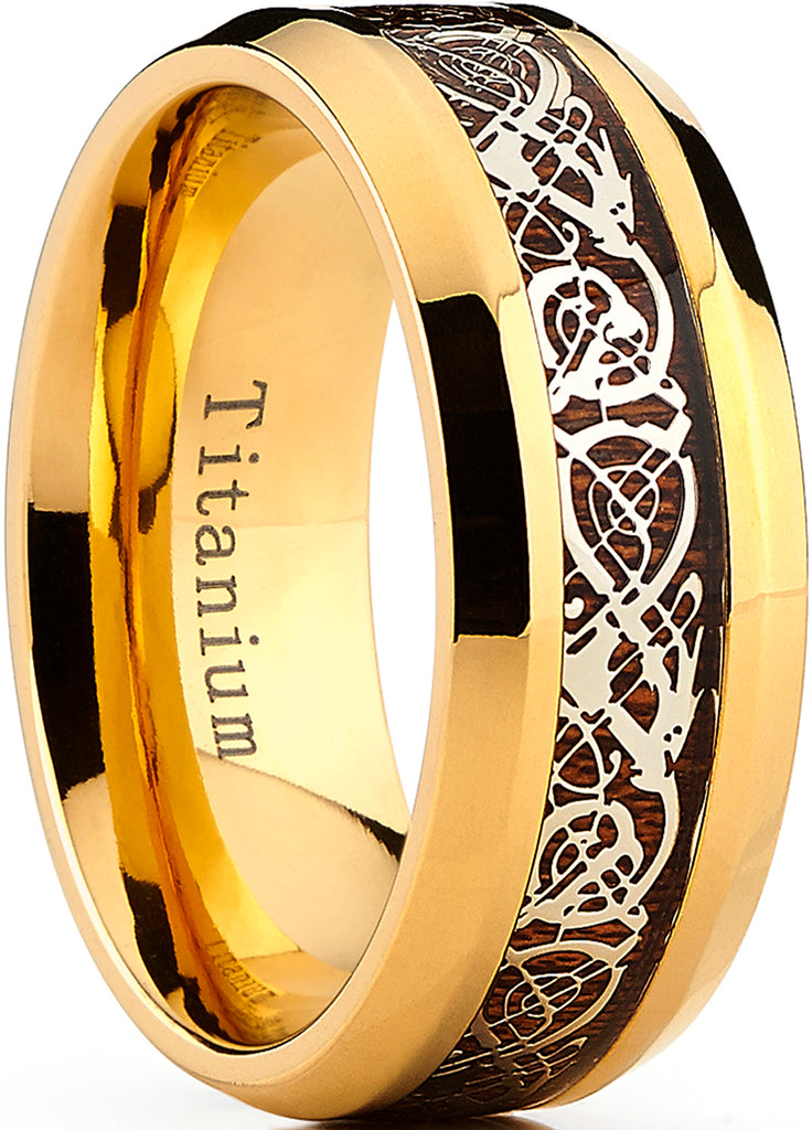Men's 9MM Goldtone Titanium Ring Band with Dragon Design Over Real Wood Inlay, Comfort Fit Sizes 7 to 15