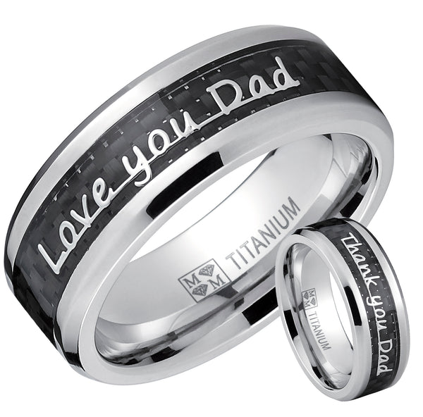 Men's Titanium Ring Band Love you Thank you Dad Father's Day Carbon Fiber Inlay