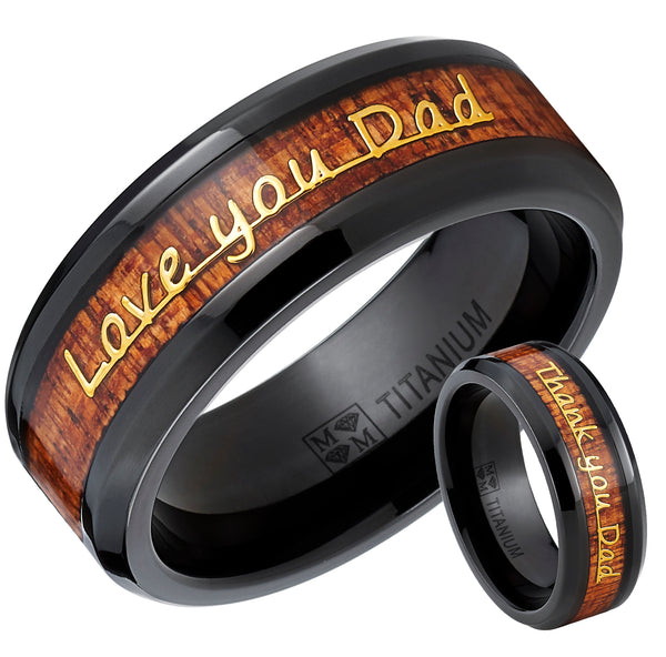 Men's Black Titanium Love you Thank you Dad Father's Day Ring Band Wood Inlay
