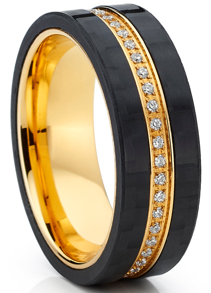 GoldTone Titanium Men's Eternity Wedding Band Ring with Cubic Zirconia CZ and Carbon Fiber Edges