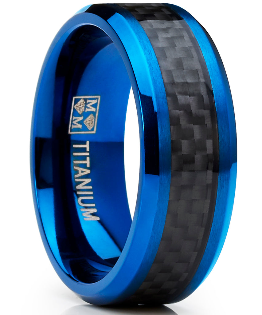 Men's Titanium Wedding Band, Engagement Ring, Blue Ion Plating and Black Cardon Fiber Inlay 8-13