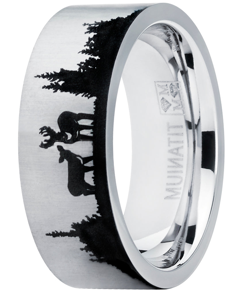 Men's Outdoor Hunting Titanium Ring Wedding Band with Laser Etched Dee –  Metal Masters Co.