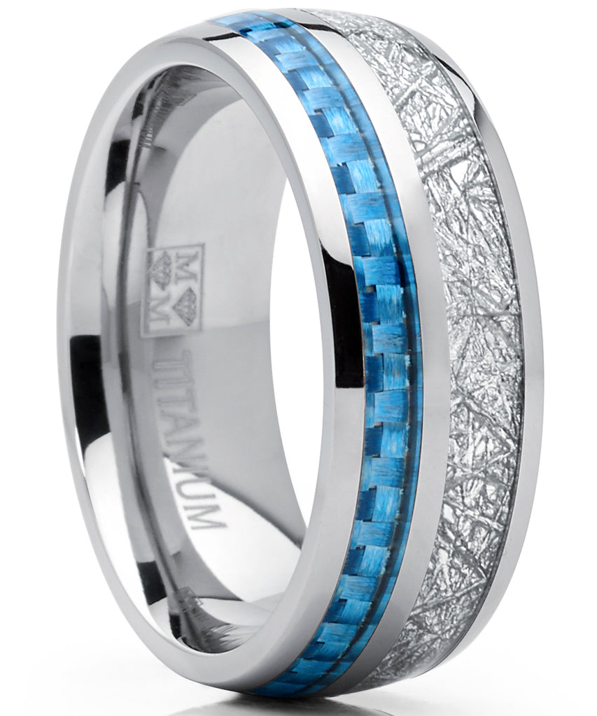 8mm Men's Titanium Wedding Band Engagement Ring with Baby Blue Carbon Fiber and Imitated Meteorite, Comfort Fit