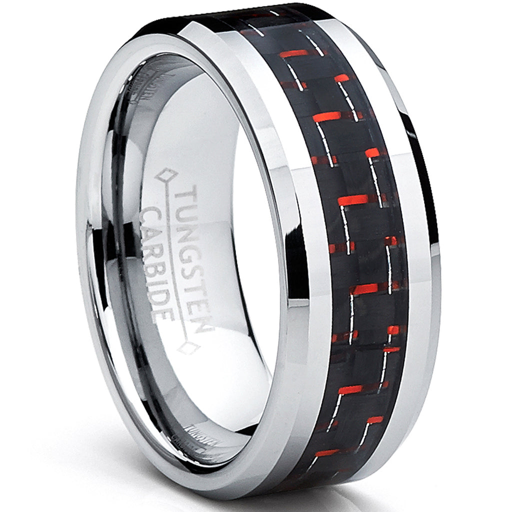 8MM Men's Tungsten Carbide Ring W/ BLACK & RED Carbon Fiber Inlay Sizes 6 to 15