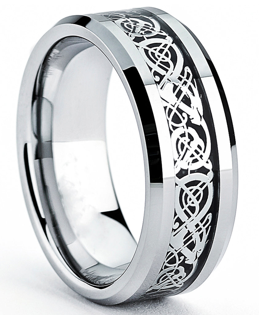 Tungsten Carbide Men's Ring with Dragon Design Inlay Sizes 7 to 13