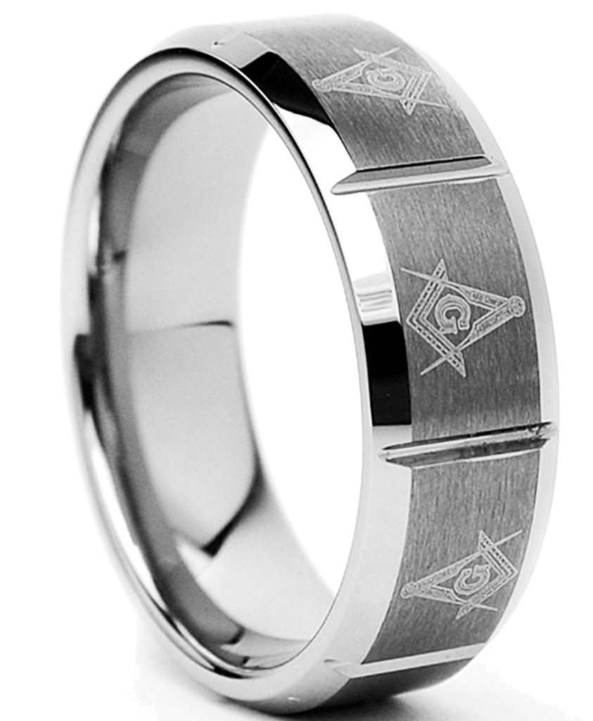 Tungsten Carbide Men's Laser Etched Masonic Ring, 8mm Comfort Fit, Sizes 7 to 13
