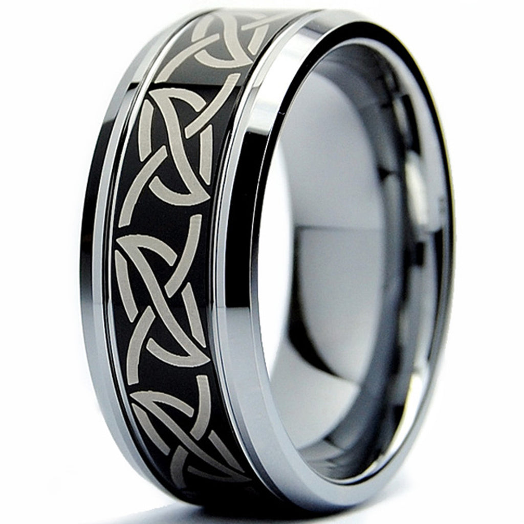 Stainless Steel Black 2 Color Tribal Love Heart Comfort Fit Flat Band Ring