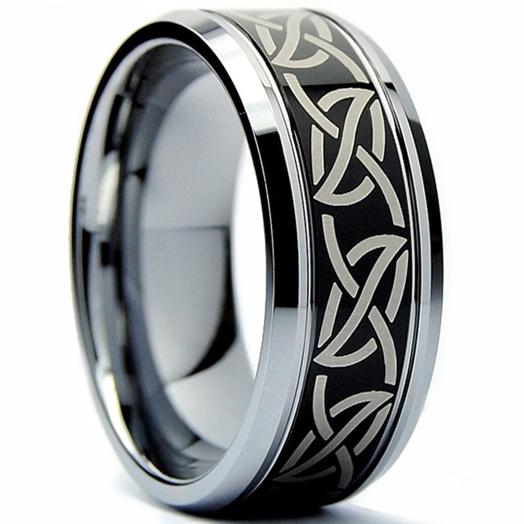 Stainless Steel Black 2 Color Tribal Dragon Comfort Fit Flat Band Ring