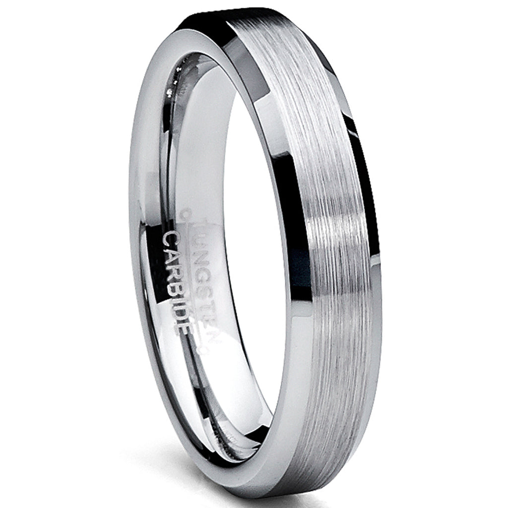 Tungsten Carbide Men's Brushed Wedding Band Anniversary Ring Comfort Fit, 4MM Sizes 5 to 15