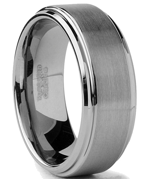Tungsten Men's Wedding Band 8MM Brushed Finish High-Polish Silvertone Comfort-Fit Beveled Edges