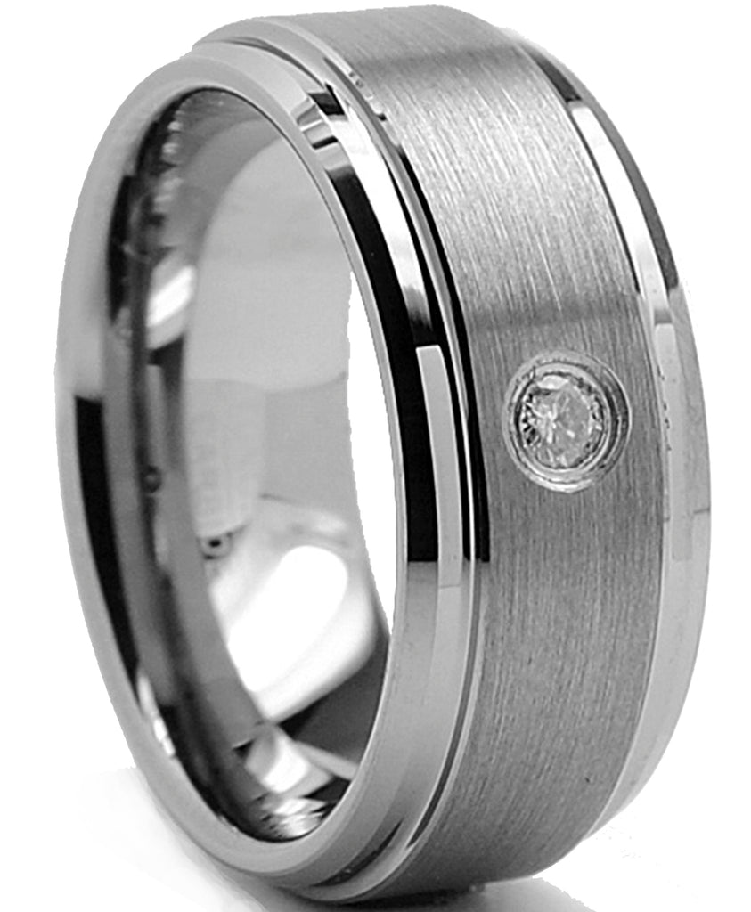 9MM Tungsten Carbide Men's Beveled Edge Comfort Fit Wedding Band Ring With .05 REAL DIAMOND Sizes 8 to 12