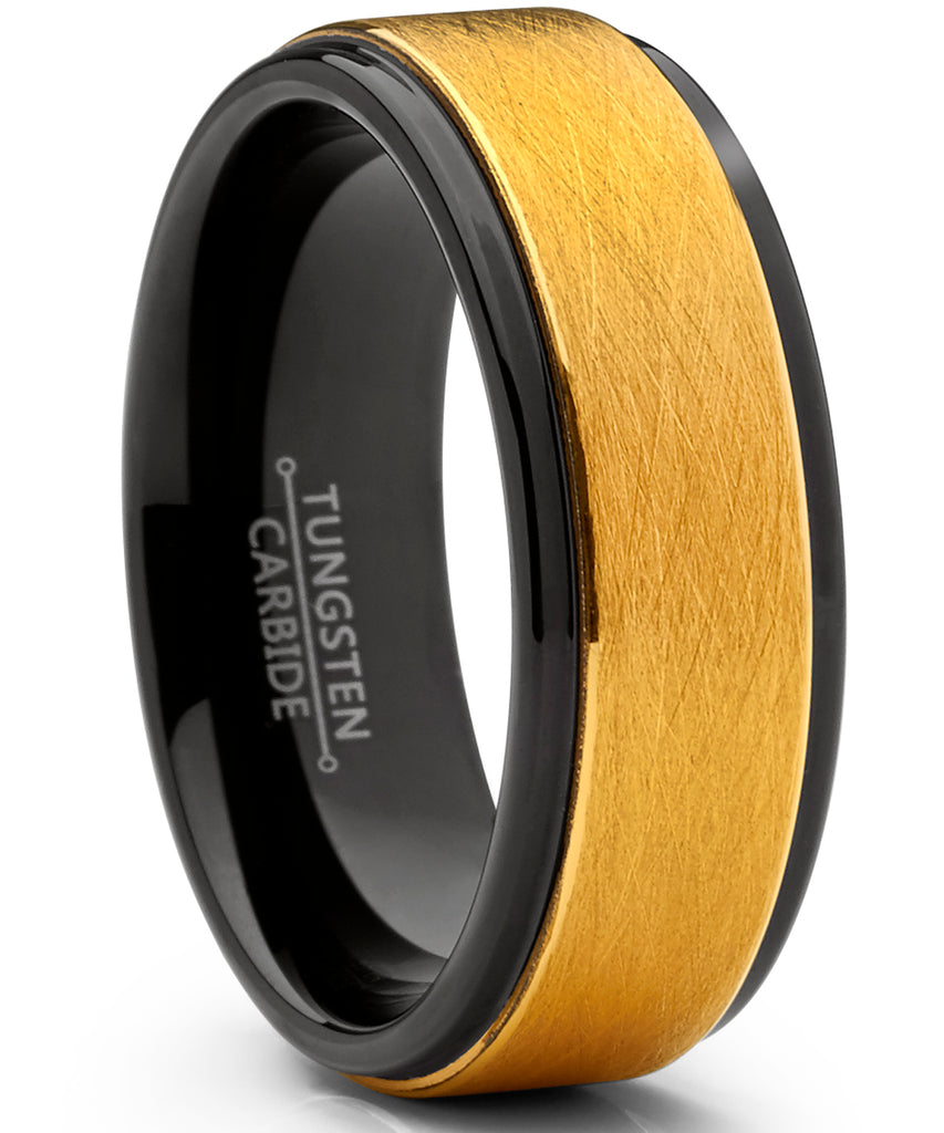 Men's Two Tone Black and Goldtone Textured Brushed Tungsten Wedding Ring, 8mm Comfort Fit Band 7 to 15