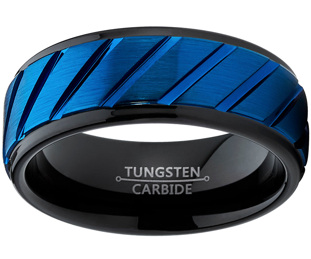Comfort Fit Tungsten Carbide Black and Blue Wedding Band Engagement Ring with Grooved Raised Center
