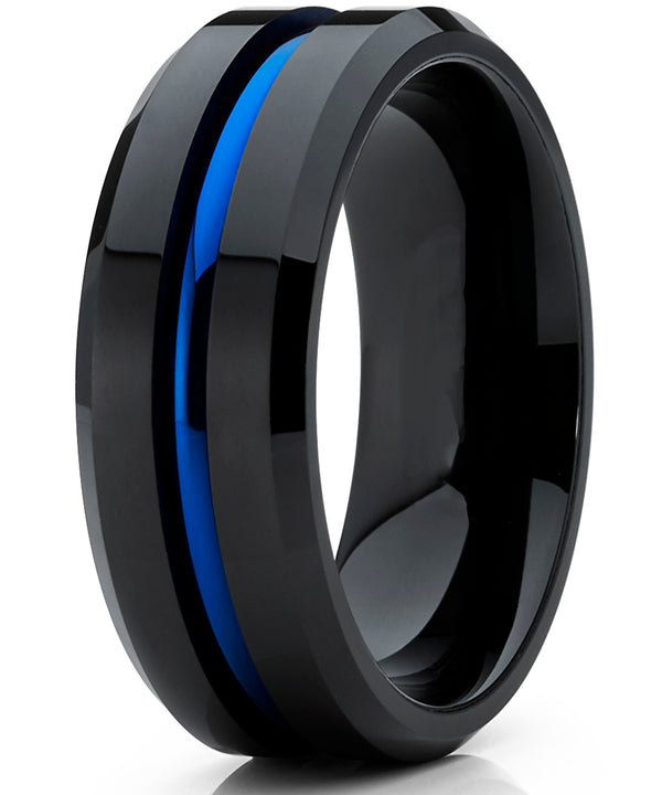 Men's Tungsten Carbide Black and Blue Wedding band Engagement Ring with Grooved Center, Comfort Fit 8mm