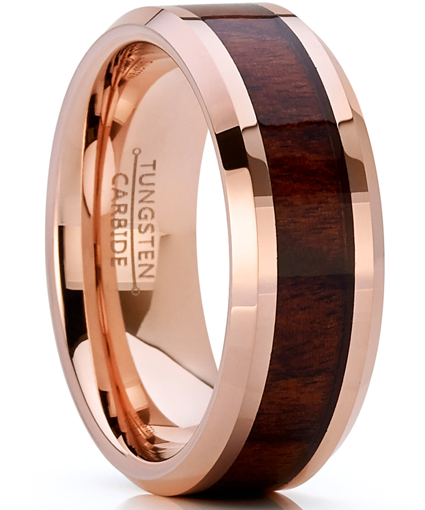 Men's Rose Tone Tungsten Carbide Wedding Band Engagement Ring, Real Wood Inlay, Comfort Fit 8mm