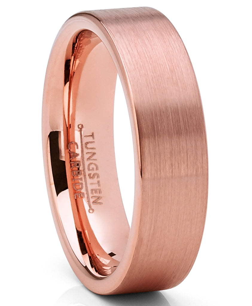 Men's Classic Flat Brushed Tungsten Carbide Wedding Band Rose GoldTone, Comfort Fit 6mm