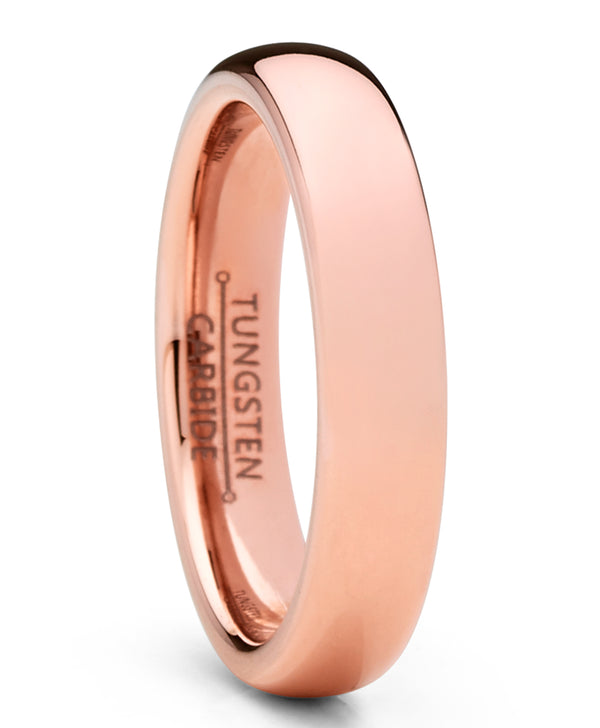 Men Women Unisex Rose Gold Tone Tungsten Wedding Band Engagement Ring 4mm Dome