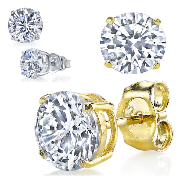 1.5 Carat TCW Casted Sterling Silver 925 Round Stud Earrings Clear CZ Cubic Zirconia