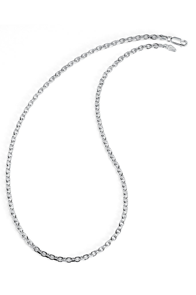 925 Sterling Silver Italian 3MM Diamond-Cut Anchor Chain Necklace