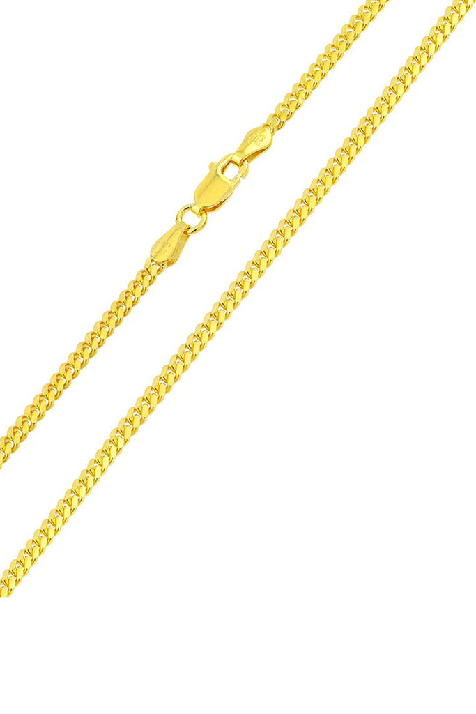 Men's 14K Gold Plated Sterling Silver 925 Italian Miami Cuban Curb Chain Necklace 3.4MM