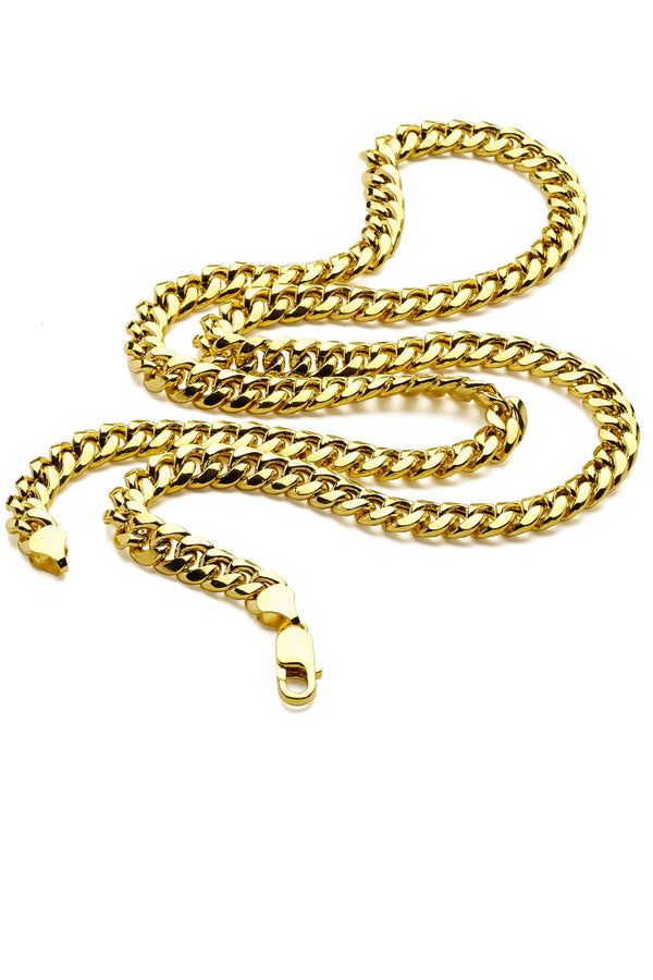 Men's 14K Gold Plated Sterling Silver 925 Italian Miami Cuban Curb Chain Necklace 4MM