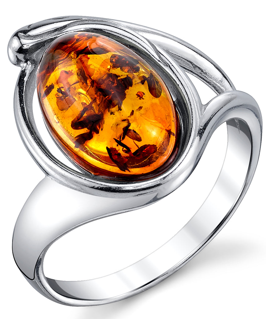 Women's Sterling Silver Baltic Amber Ring Cognac Oval Shape Center 5-9
