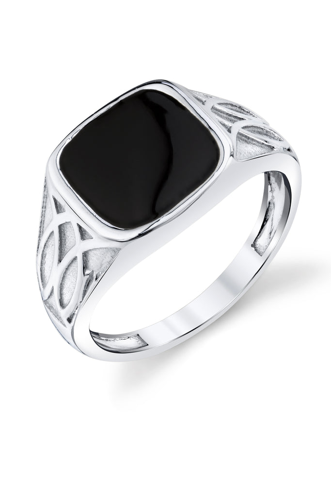 Men's Signet Pinky Ring Sterling Silver Black Enamel Caved Celtic Design 12MM