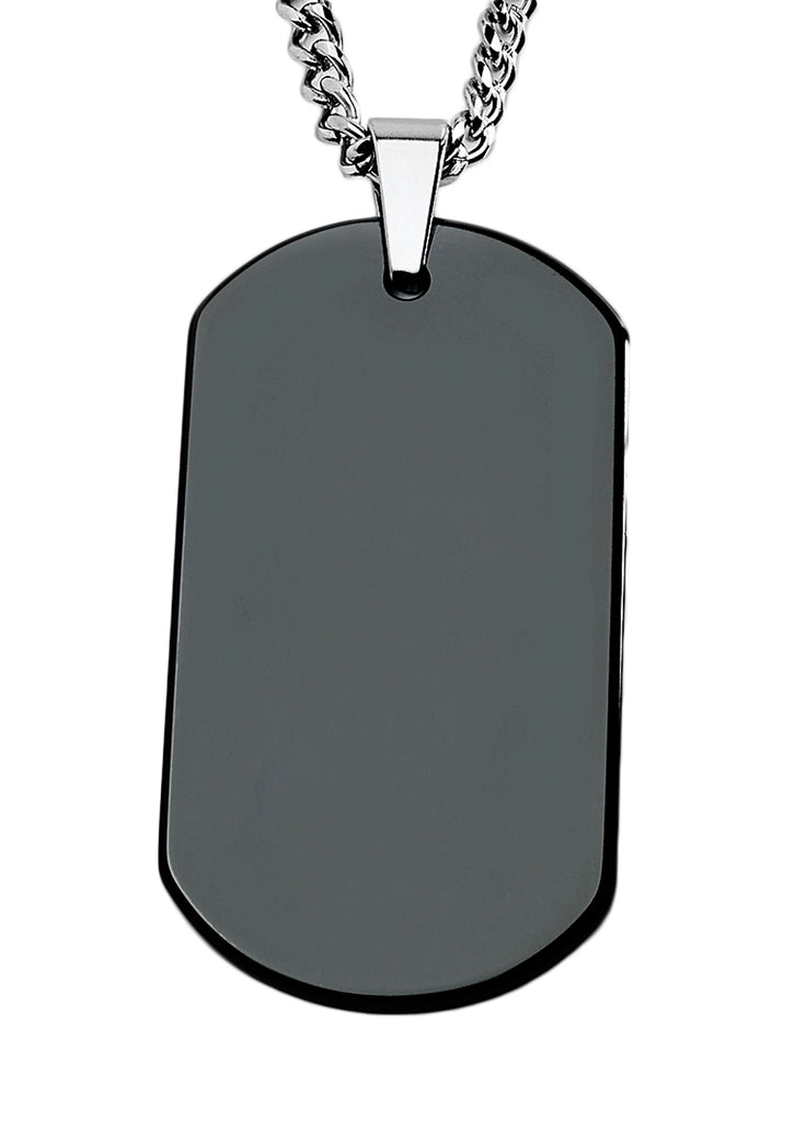 "Tungsten Carbide Men's Large Black Dog Tag with free 24"" Curb Chain"