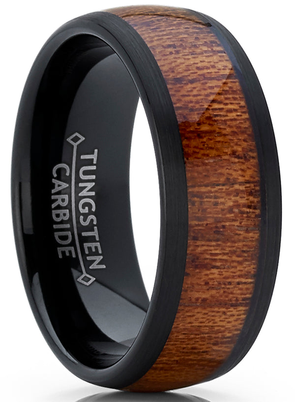 Men's Genuine Rose Wood Tungsten Ring Band Wedding Engagement Inlay 8MM