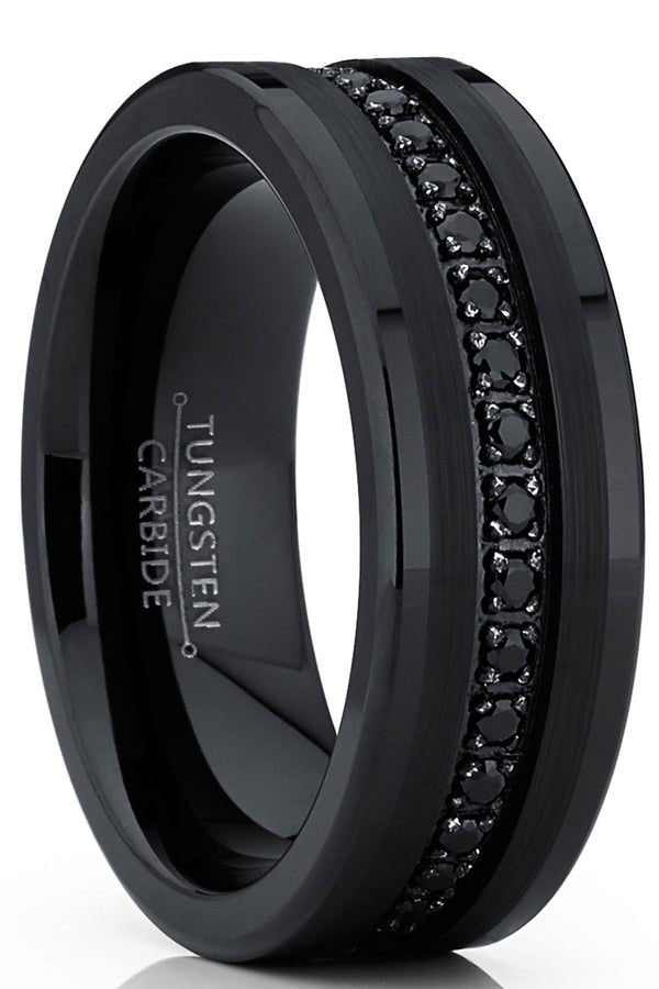 Men's Genuine Tungsten Black Wedding Band Eternity Ring Cubic Zirconia Comfort-Fit