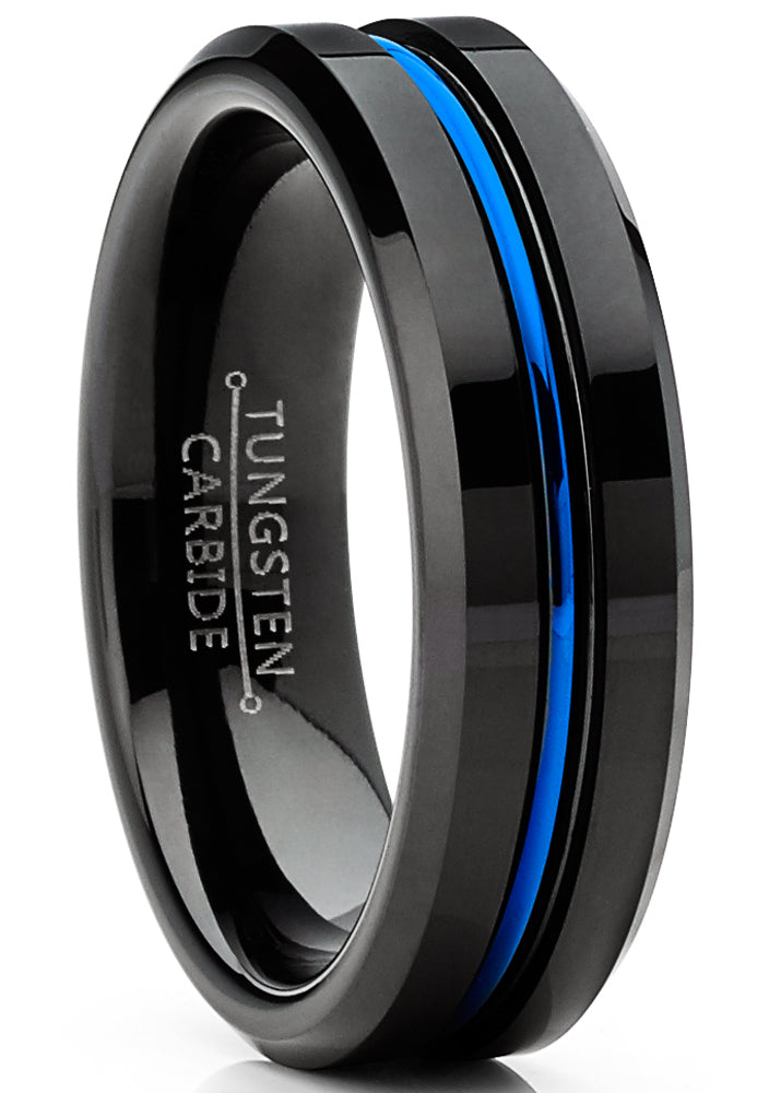 Men's Tungsten Wedding Band Black Ring Grooved Center Blue Comfort-Fit 6MM 5-13