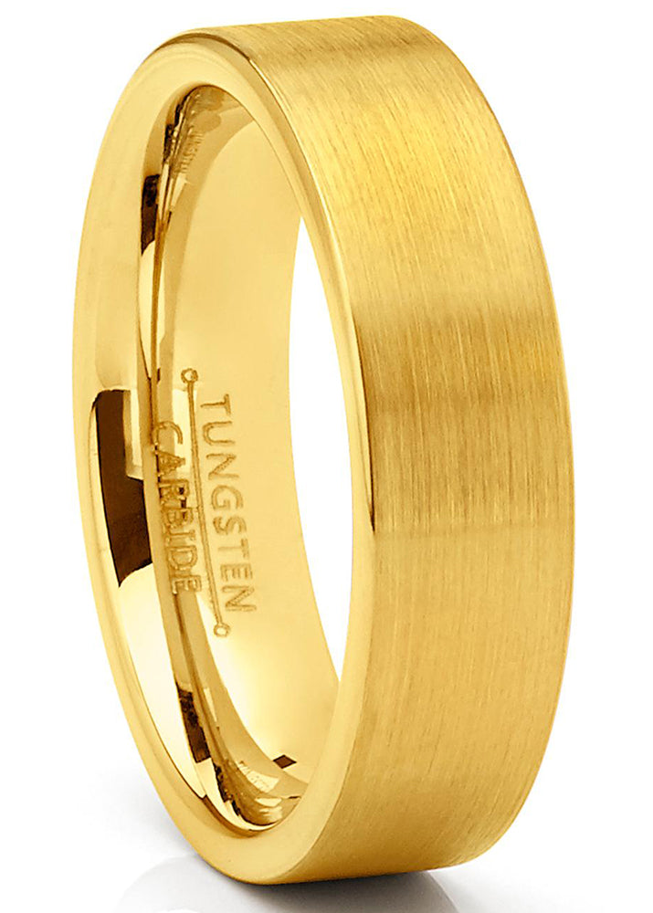 Men's Tungsten Wedding Band Ring GoldTone Flat Brushed Comfort-Fit 4MM 6MM 5-13