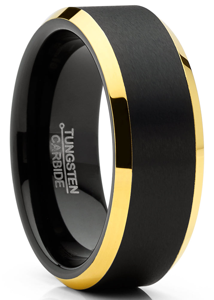 Mens Tungsten Ring Black Goldtone Wedding Band Beveled Edges Comfort-fit 8MM