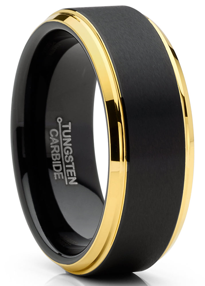 Mens Tungsten Ring Wedding Band Beveled Edges Comfort-fit Black Goldtone 8MM