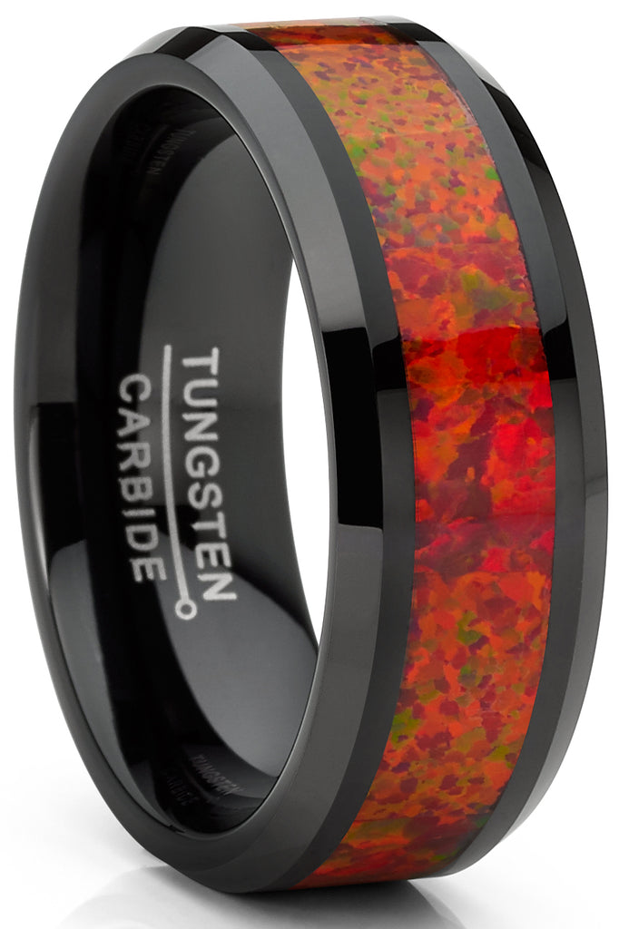 Men's Red Fire Crushed Opal Tungnsten Wedding Band Ring Black 8MM Comfort-Fit
