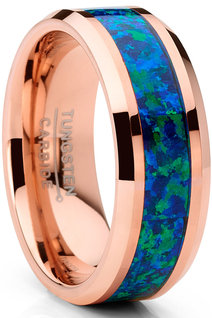 Men's Rosegold-tone Tungsten Carbide Wedding Band Ring Blue Green Opal Inlay 8MM Comfort-Fit
